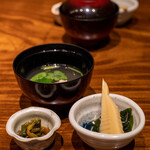 蒼天 - 2021.3 若筍煮、花山葵醤油漬け、鶏団子スープ