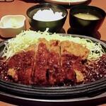 jukuseitonkatsubanikugyuutantantontan - リブロース味噌かつ(220g /税込1,400円)             ※ごはん・お味噌汁・キャベツ・お新香付き