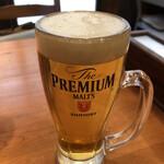 うまいもんや - ランチビール(中ジョッキ)税込330円