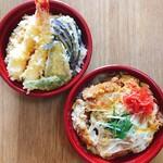寿屋 寿庵 - テイクアウトの天丼1000円とかつ丼900円です。