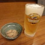 居酒屋 入舟 - 小鉢&生ビール(得々セット)