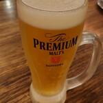 元祖とんこつ久留米ラーメン 福ヤ - 生ビール 中(プレミアムモルツ)