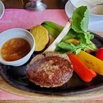 147733953 - 米沢牛100%ハンバーグ野菜添えおろしポン酢のup