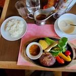 147733954 - 米沢牛100%ハンバーグ野菜添えおろしポン酢¥2530(スープ ライス サラダ付のセット)