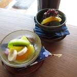 和蔵珈琲店 - デザート(シークワーサー寒天&ミニあんみつ)