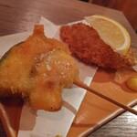 魚串さくらさく立川 - カキフライ串揚げ308円とかぼちゃ揚げ109円