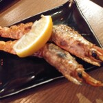 魚串さくらさく立川 - 赤海老の炭火焼き串218円×2 ボケちゃったW