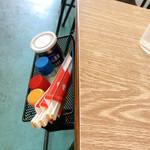 Chabo - 机の横に、調味料等