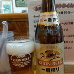 らーめん桃源 - びんビール 中びん 450円、税込みでこの値段なのでなかなか良心的。
