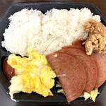 ファニーフードストア - ポーク玉子弁当700円(唐揚げ、さんぴん茶)