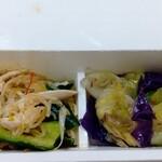 パリヤ - たたき胡瓜と蒸し鶏のピリ辛ザーサイ&ラー油あえ、クミンとオリーブオイルの塩漬けキャベツ ♪