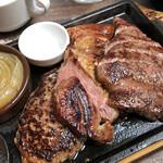 147900802 - トリプルグリルプレート(岩中豚120g/黒毛和牛赤身ステーキ100g/国産牛はバーグ150g)