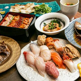 赤酢のシャリと鮮魚が愉しめる江戸前寿司。コースもございます