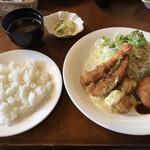 グリルじゅんさい - 料理写真:セットメニュー(エビ ホタテ クリームコロッケ サラダ ご飯 味噌汁 漬物)