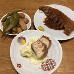 きんとと - 燻製枝豆と落花生、鯖の燻製+ポテトサラダ、筍の土手煮