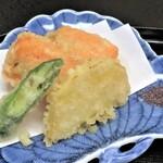 京料理 立神 - 金時人参真薯と白身魚挟み 薩摩芋 アスパラ