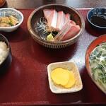 Kitanadagyokyouchokusou toretateshokudou - すだちブリ刺身定食1700円
