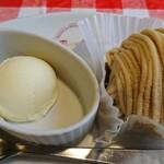 アルバータ ファミリア - デザート(渋皮栗のモンブラン+バニラアイス)+ドリンクバー(カフェオレ)