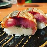 酒と肴と旨いもん 笑緒一 - 鯖の極厚棒寿司