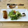 まかないや - 料理写真:前菜の春巻きと水菜のサラダと棒棒鶏