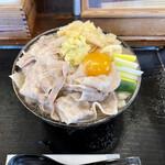 豚や - 豚肉汁かけうどん 関西風+生姜+油揚げ+生玉子
