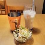 ハーブガーデン - ランチサラダといちごラッシーと水