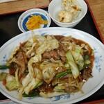 中華飯店 ごくう - 本日のサービス品炒肉片定食ご飯大盛り