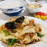 食道楽 - 野菜と肉炒め+ライス(2021.3.22)