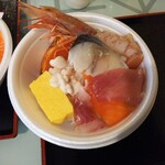 148188814 - オリジナル海鮮丼(サーモン、シメサバ、赤海老、炙りサーモン、白子など)