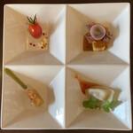 中華バルSAISAI。 - 前菜 プチトマトリキュールマリネ、       水餃子、ホタルイカのカルパッチョ、       桜海老のゼリー寄せ。