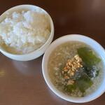 中華バルSAISAI。 - ライス、スープ