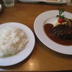 マザームーンカフェ - ハンバーグ&ライス(大盛)