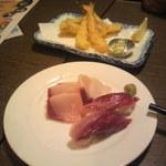 だんまや水産 - ハマチ三昧 504円+(奥は)天ぷら盛り合わせ(2012.09.10)