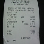だんまや水産 - レシート(2012.09.10)