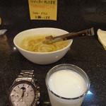 14833666 - 食後のラッシーと玉ねぎのピクルス