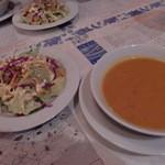 Ankara - サラダとドマテスチョルバス(トマトスープ)