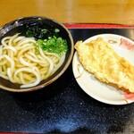 こがね製麺所 - かけうどん小、天ぷら1つ(とり天)