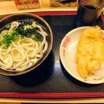 こがね製麺所 - かけうどん小、天ぷら1つ(鶏天)
