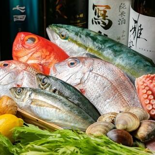 市場で拘り仕入れた魚を鮮魚店より直送♪