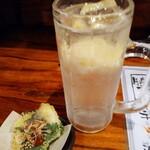 148392376 - レモンサワーとお通しの鯵の天ぷら