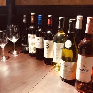 厳選したワイン!グラス提供も多数あるのでいろいろ楽しめます!