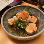 天寿ゞ - 料理写真:壁メニューで発見した好物あん肝を肴に天ぷらを待とう。冷えすぎず、柔らかさを残して旨味いい塩梅。