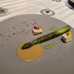 148408004 - アスパラガス、桜鱒マリネ、美味
