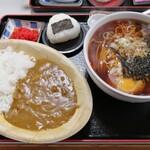 そば処 更科 - 料理写真:月見そば(600円)+ミニカレー丼(400円)