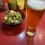148419942 - 中盛チャーシュー+野菜畑+白玉くずれ+ビール ¥980+60+20+300