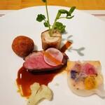 フローラ - 合鴨のコンフィと、白身魚のコロッケ、鶏肉のバロティーヌ、サーモンの大根包み