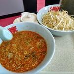 ラーメン山岡家 - 辛味噌つけ麺、コロチャーシュー、味付け白髪ネギ