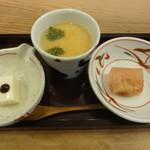 14846359 - ひびきランチ 前菜  ミルク豆腐・茶碗蒸し・イチヂクゼリー寄せ