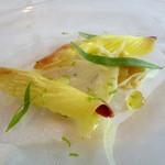 アーリア ディ タクボ - コチのカルパッチョ 焼き茄子のタルタルとウイキョウの花のサラダ添え