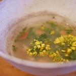 脳裡 - 金目鯛と菜の花のスープ